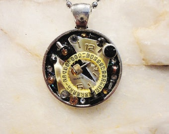 Steampunk Clock Round Pendant