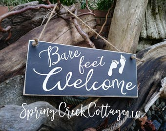 Signs, Coastal Decor, Bare Feet Welcome, Nautical, Handpainted, Seaside, Coastal Living, Home Decor, Beach, Lake, Rustic