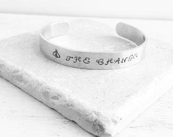 Be the change, hand stamped bracelet, adjustable bangle cuff bracelet, ghandi quotes, inspirational gifts, bee, quotes, stamped bracelet