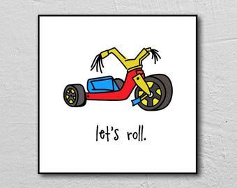 big wheel. let's roll. illustration. kids room. baby. nursery. toddler. 8x8 FRAMED art print. trike. three-wheeler. retro toys. alexandasher