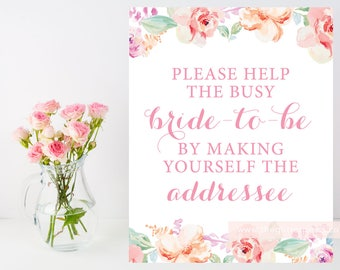 Please help the bride-to-be, make yourself the addressee sign, Floral baby shower, blush bridal shower, DIY, Instant Download, 003