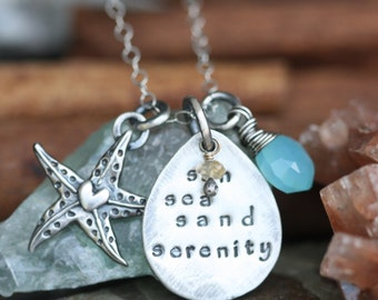 Sun Sea Sand Serenity.....hand stamped sterling silver Beach necklace