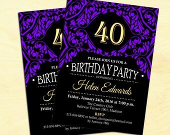 40th Birthday Invitation / 30th / 50th / Any Age / Purple Gold Black / Adult Elegant Invite / Digital Printable Invitation / Customized