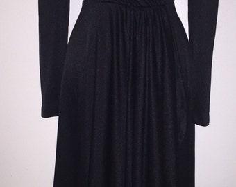 70s Black Faux Wrap Dress