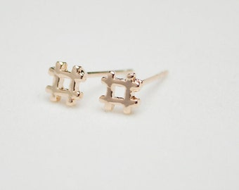 14k Gold Filled Hashtag rose gold studs earrings high polished minimalist round mirror shiny tiny pure pink butterfly pierced stud
