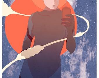 Space Selfie // Sci-Fi Illustration; Fine Art Print