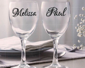 Personalized vinyl decal for wine glass, Personalized wine glass Decal DIY/ Wine Glass/ Bridal Shower/ Wedding gifts
