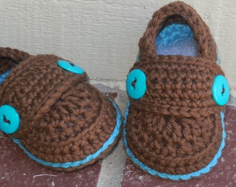 Baby Boy Booties, Crochet Baby Loafers, Baby Shoes, Baby Booties, Baby Loafrers, Chocolate Brown and Teal newborn to 9 months