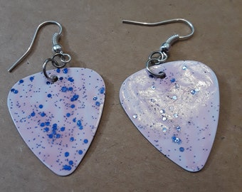 Blue Stardust Guitar Pick Earrings