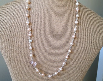 Pink Pearls, Freshwater Pearls, Pink Quartz, Linked Necklace, Beaded Necklace, Bridal Necklace, Etsy, Pearl Necklace