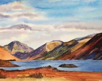 Wast Water, Lake District, English landscape, Cumbria, English landscape painting, England, English mountains, Lakeland, mountain lake