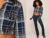Crop Top 70s Shirt Button Up Blouse Long Sleeve Checkered Plaid Shirt Dark Blue Cropped Shirt 1970s Button Up Vintage Medium