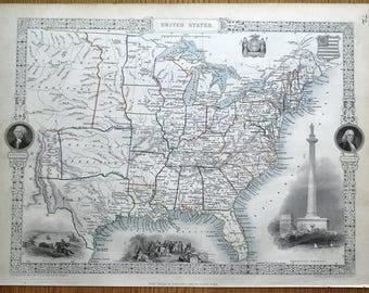UNITED STATES of America, USA, Rapkin & Tallis original antique map 1851