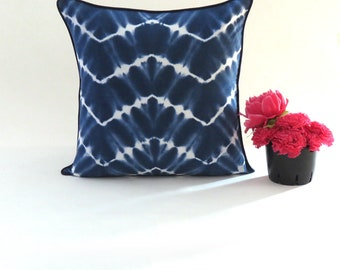 Indigo Tie Dye Cushion Cover Shibori Decor  18 x 18 Cotton Cushion Cover  Decorative Cushion Tie and dye decor