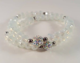 Bead Wrap Bracelet made of Shamballaperle, faceted beads and 925 Silberperlchen
