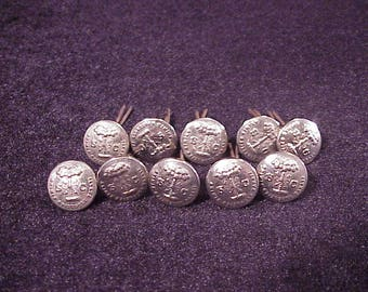 Lot of 10 South Carolina State Seal Nickel Tone Metal Uniform Buttons, made by Waterbury, Cufflink Material, Making, Vintage Sewing, 1970's