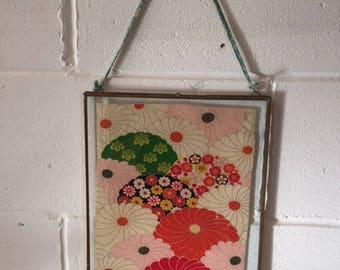 1. 'festival'. Beautiful framed kimono silk.