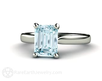 Aquamarine Engagement Ring Aquamarine Ring Solitaire Aqua Ring March Birthstone  14K or 18K Gold or Platinum