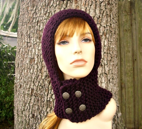 Knit Hat Womens Hat Knit Hood - Warrior Helmet Balaclava in Eggplant Purple Knit Hat - Womens Accessories