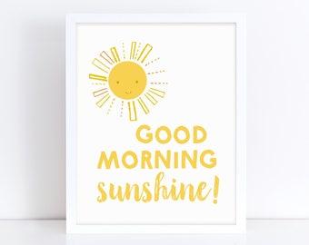 Good Morning Sunshine, Nursery Decor, Good Morning, Above Crib Decor, Colorful Wall Art, Nursery Printable, Cute Girls Print, Printable Art