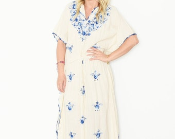 Vintage Embroidered Mexican Caftan, Summer Maxi Dress