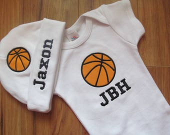 Personalized Baby Outfit Monogram Baby Outfit Personalized Baby Boy Coming Home Outfit Personalized Basketball Hat Monogram Basketball Hat