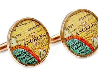 Los Angeles Cufflinks  Bronze Antique California Map Vintage Globe Cuff Links Gift for Him Free US Shipping