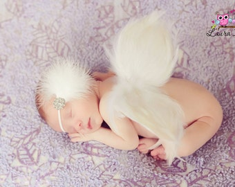 Angel Wings Baby Photo Prop, White Feather Angel Wings Fully Poseable for Newborn Photography, wings only
