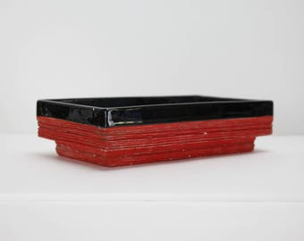 Vintage Pottery Bonsai Planter Red Black USA