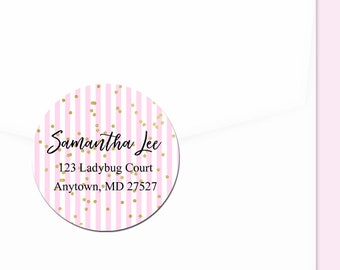 Personalized Address Labels / Confetti and Stripes Stickers / Return Address Label / Envelope Seals / Wedding Labels / Thank You Stickers