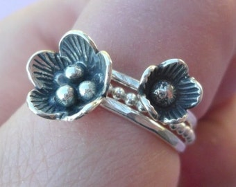 Cherry Blossom Flowers Stacking Rings in Sterling Silver size 6