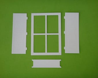 All cut window, shutters and planter for creating white drawing paper