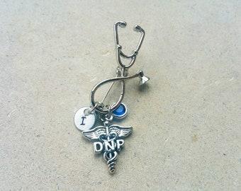 DNP Doctorate of Nursing Practice Nurse Practioner Handstamped Personalized Crystal Birthstone Initial Pin Brooch