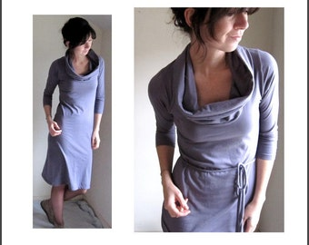 Organic Cotton,  Long Sleeve Cowl Dress, Grey Lavender, Spring Dress, Jersey Knit, Knee Length, Made to Order