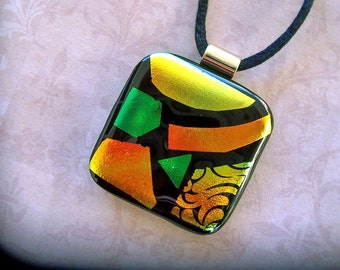 Dichroic Glass Pendant, Fused Glass Jewelry, Dichroic Necklace, Mosaic Look