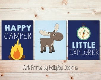Moose nursery decor Camping nursery art Little Explorer Happy Camper Navy blue wall decor Toddler boy art Kids room Adventure nursery #1588