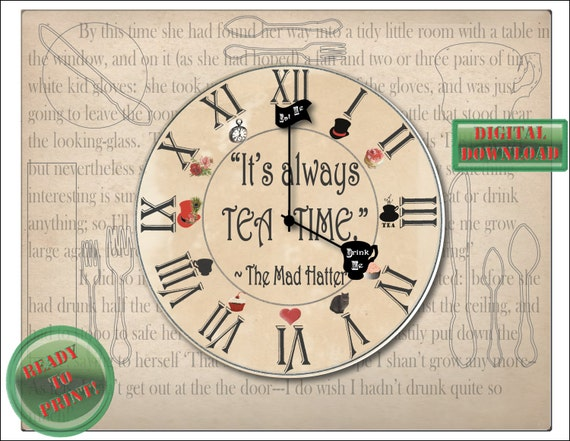 Mad Hatter Placemat Printable PDF 11x14 \ It\u0027s always TEA TIME\  Alice Wonderland Quote Top Hat Red Heart Drink Me Eat Clock Face Cheshire Cat from ... & Mad Hatter Placemat Printable PDF 11x14 \