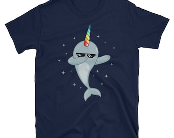 Narwhal Dabbing T-Shirt   Rainbow Horn Narwhal Shirt   Unisex   Cute Narwhal Dab Tee   Narwhal Gift T Shirt