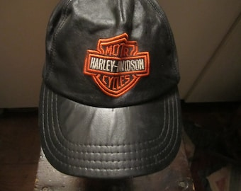 Distressed Damaged And Well Seasoned  Leather Harley Cap Sold As Is