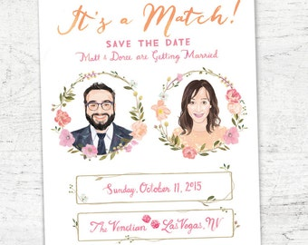 """Custom Illustrated Tinder Save the Date A7 Size (5x7"""") - Digital Download"""