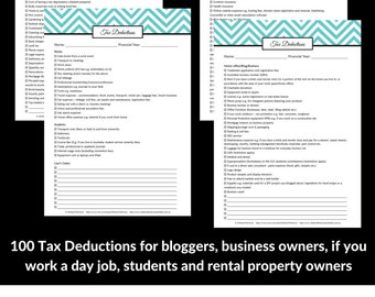 EDITABLE LIGHT BLUE Tax deductions checklist planner printable organizer Household Binder template finance money management editable pdf
