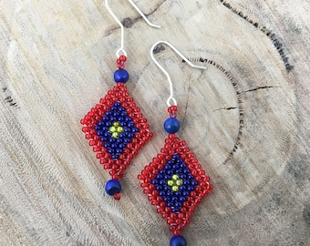 Red, blue and yellow diamond-shaped dangle earrings, bead woven with blue beads and 925 sterling silver hooks