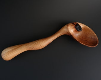 SERVICEBERRY WITH INCLUSION  wooden spoon hand carved by Spoontaneous, wood spoon, wood carving, art spoons, carved spoon, sculptural spoon