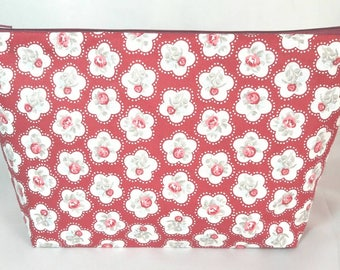 Make up bag toiletries zipped cosmetic bag stationery red grey