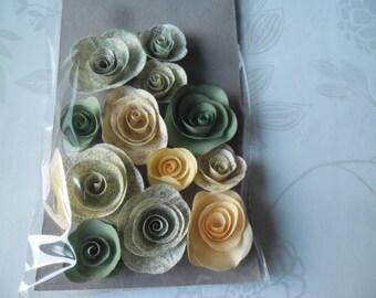 x 12 mixed shape flowers pink yellow/green pattern/plain paper