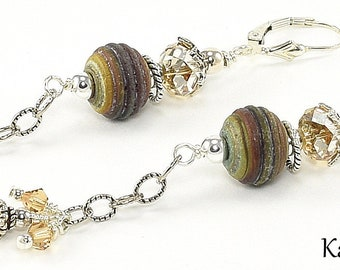 Lampwork Earrings - Lampwork Rustic Sterling Silver Swarovski Crystal Lampwork Bead Dangle Earrings - KTBL