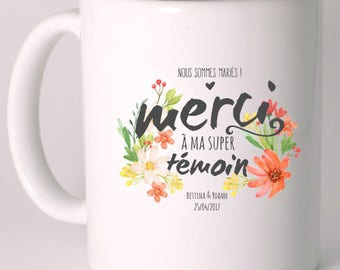 "CERAMIC MUG ""thanks to my great witness"" personalized"