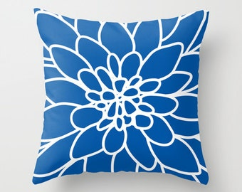 Dahlia Flower pillow with insert Cover - Modern Home Decor - By Aldari Home - Royal Cobalt Sapphire Blue and White Flower pillow with insert