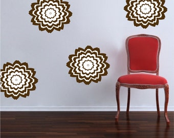 Floral Wall Decals, Star Burst Wall Decals, Nursery Wall Stickers, Flower Wall Art Mural, Floral Wallpaper Vinyl, Floral Wall Adhesive, d34