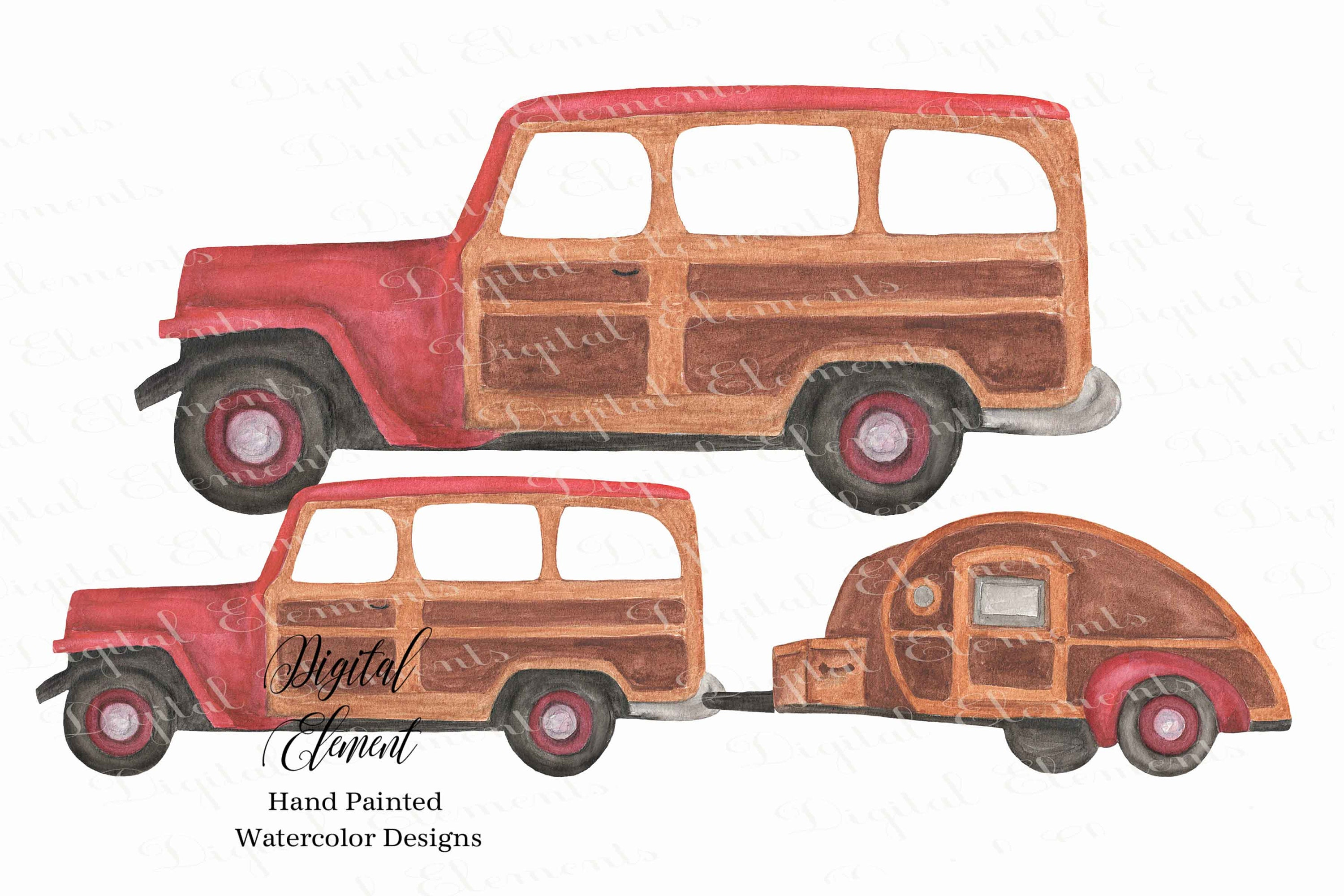 Happy Camper Clipart Camping Trip Watercolor Woody Jeep Teardrop